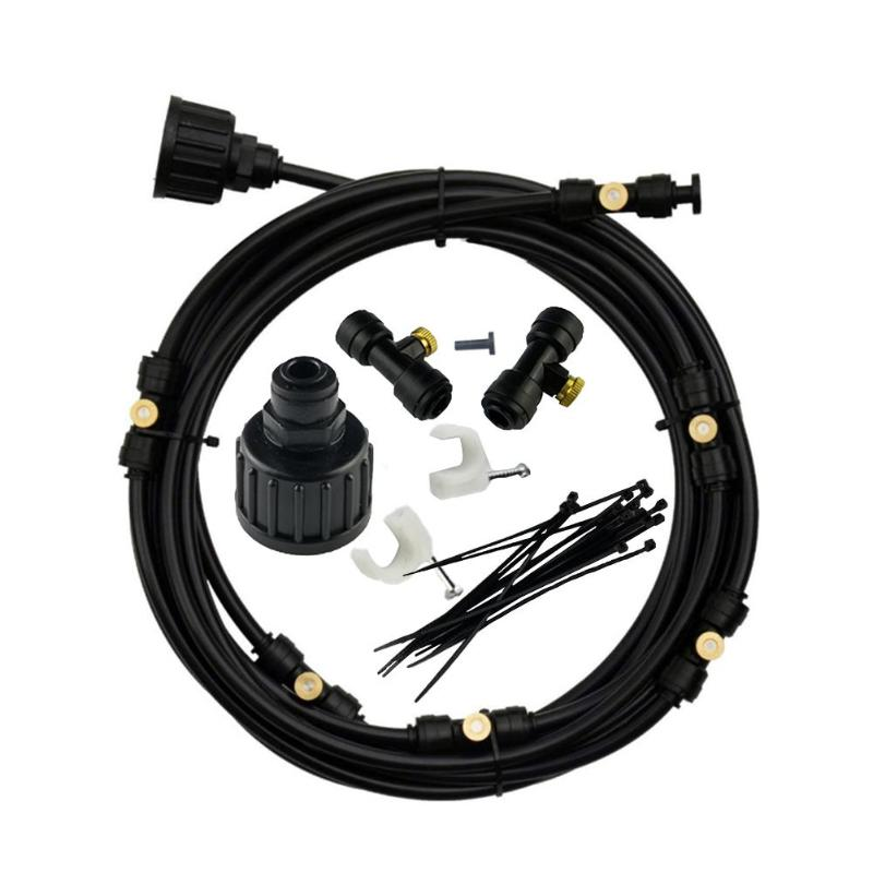 Image 2 - 6M 18M Outdoor Misting Cooling System Kit for Greenhouse Garden Patio Waterring Irrigation Mister Line Watering System-in Sprayers from Home & Garden