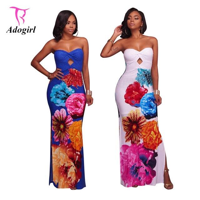 7e64ebdcd80 Strapless Maxi Dress Women Floral Print Hollow Out Slit Print Fit and Flare  Evening Party Dresses Elegant Bocycon Dress Vestidos