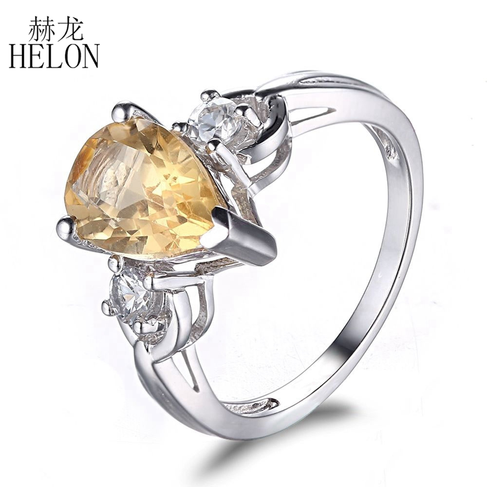 HELON Sterling Silver 925 Nice Gemstones Three-Stone Wedding Women's Jewelry Ring 10x7mm Pear Shape Citrine Engagement Fine Ring