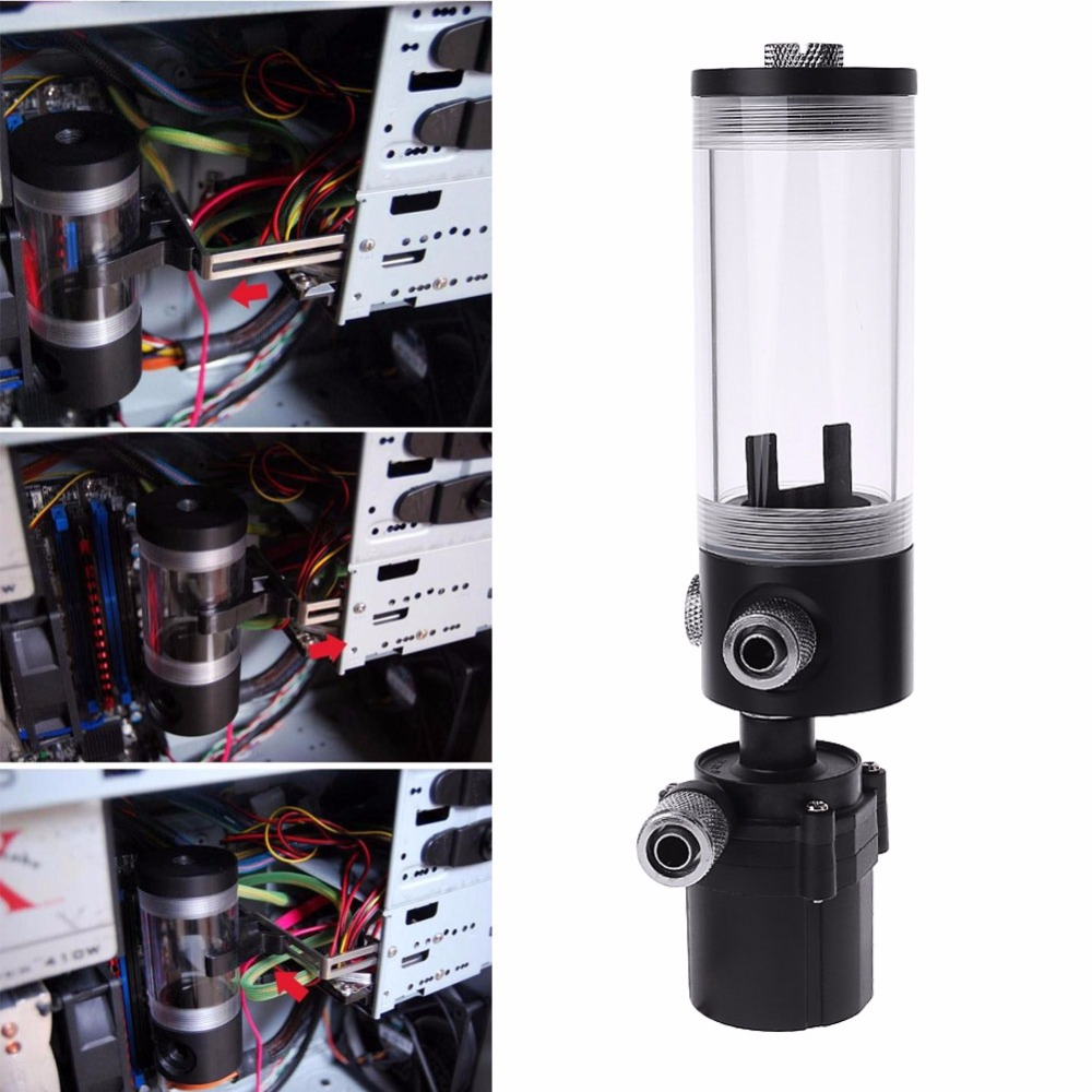 New 140mm Cylinder Water tank SC600 Pump PC Computer Water Cooling cooler Radiator 600L/H C26 цена