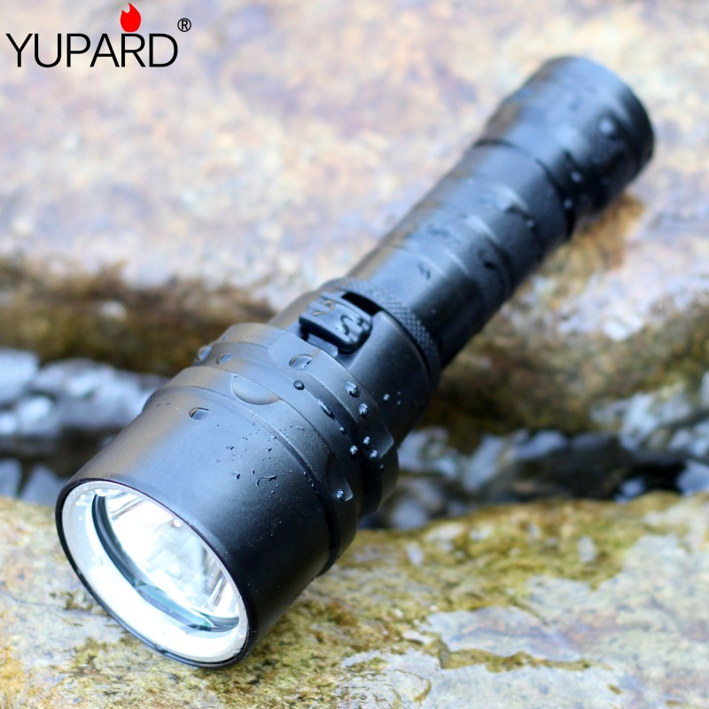 YUPARD Diving diver Waterproof underwear  XM-L2 LED T6 Flashlight Torch Light lamp For 1x18650 rechargeable battery camping diving 4000 lumens cree xm l2 led 3 l2 led t6 flashlight torch waterproof underwear lamp light super white light