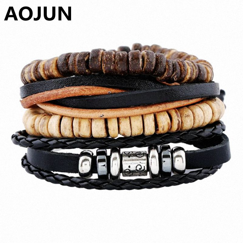 Drop Shipping AOJUN 4pcs 1 Set Vintage Leather Bracelet Males