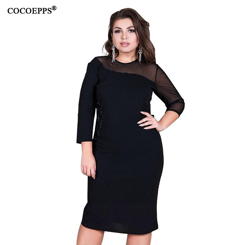 e90761448cfdf7 COCOEPPS été femmes robe 6XL grande taille vestidos robe bureau dame ...