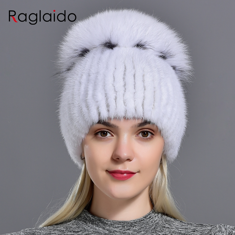 Raglaido Brand Luxury Hats Women Mink Knittd Real Fur Cap Hand sewing Winter Beanies cap Natural