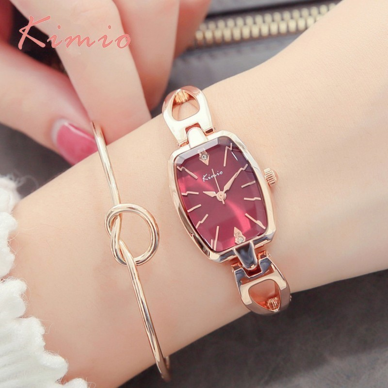 KIMIO Tonneau Ladies Watches Women Fashion Watch 2018 Brand Luxury Rectangle Rose Gold Watch Bracelet Wrist Watches For Women stylish rhinestoned rectangle triangle bracelet for women