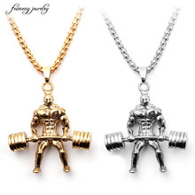 Unique Weightlifter Figure Pendant Necklace for Men and Women Body Builder Necklace Muscular Man Fitness Jewelry Wholesale 10pcs(China)