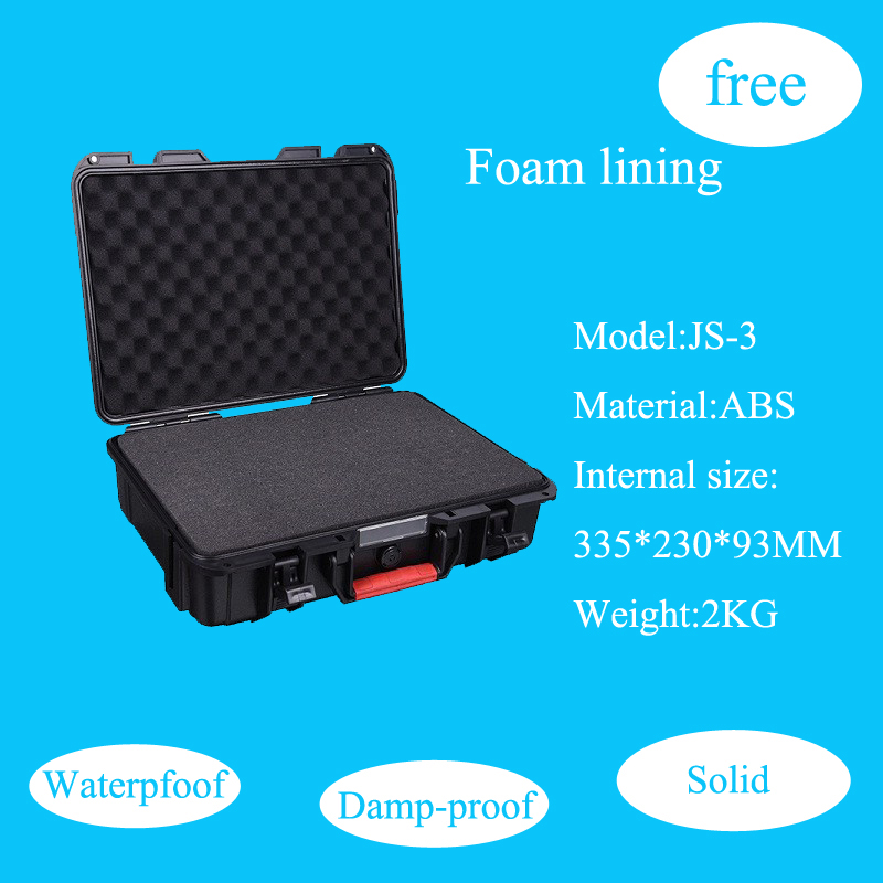 Įrankių dėklas, įrankių dėžės lagaminas, atsparus smūgiams, atsparus vandeniui, apsauginis ABS dėklas 335 * 230 * 93 mm fotoaparato dėklas su putplasčio pamušalu