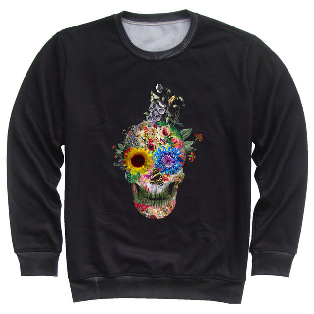 Joyonly Skull Flower Weed Plant T-Shirt Children Warm Fleece T Shirt Boy Girl Kids Fashion Tees Punk Tshirt Brand Clothing Tops