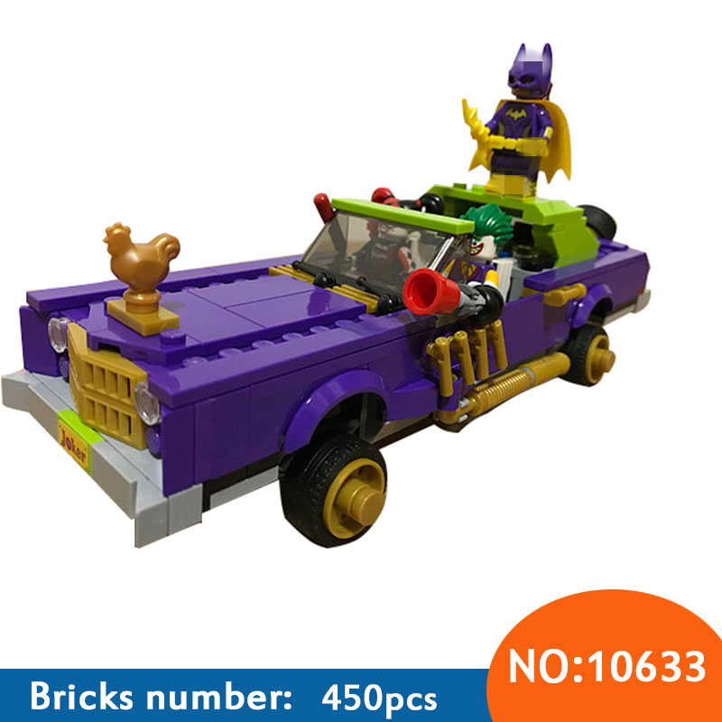 450pcs 10633 BATMAN MOVIE The Joker Notorious Lowrider Building Blocks DIY Bricks toys Gift for children 70906 443pcs super heroes batman movie 07046 the joker notorious lowrider diy model building kit blocks gift toys compatible with lego