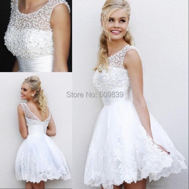 vestido de noiva custom made 2014 short wedding dress see through neck heavy pearls decoration sexy