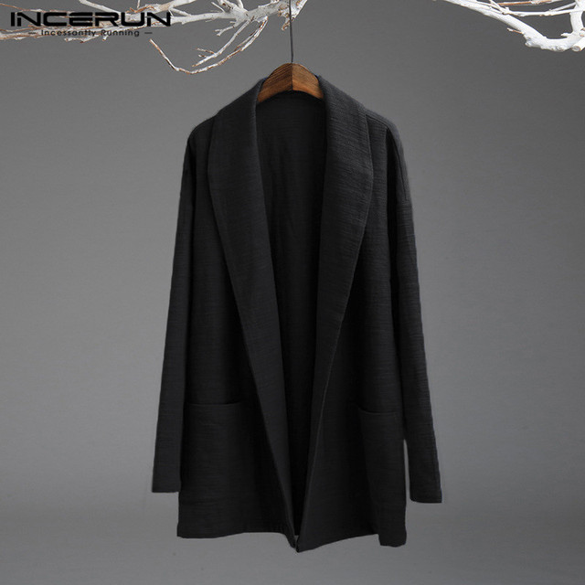 5XL Men's Jackets Kimono Retro Chinese Style Coats Casual Solid  Black Outerwear Long Sleeve Loose Male Trench Autumn INCERUN