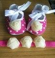 Бутик мокасины малыша ; девушки детские скрипучие ботинки детская обувь девушки повязка на голову комплект ; новорожденный обувь для девочек крещение