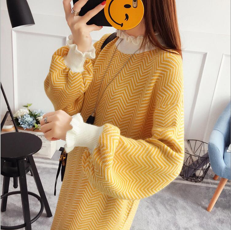 2018 Winter Turtleneck Pullovers Women's Striped Sweaters Wool Knitted Jumper Tops Feature Product