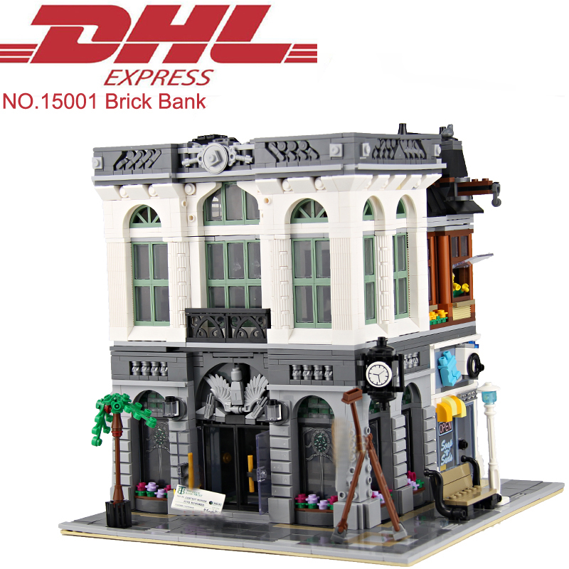 Lepin 15001 2413Pcs City Street Figures Brick Bank Model Building Kits Blocks Bricks Toy For Children Gift Compatible With 10251 10646 160pcs city figures fishing boat model building kits blocks diy bricks toys for children gift compatible 60147