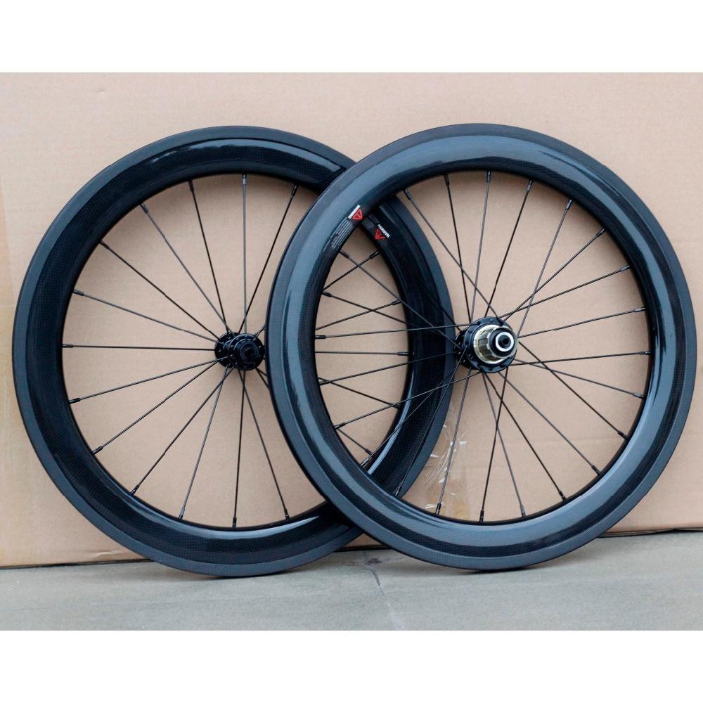 Carbon Fiber 20 Wheelsets 20H 24H 451 Wheels Rim V Caliper Brake For 20 Folding Bike Minivelo Recumbent Bike 3K Glossy Matte