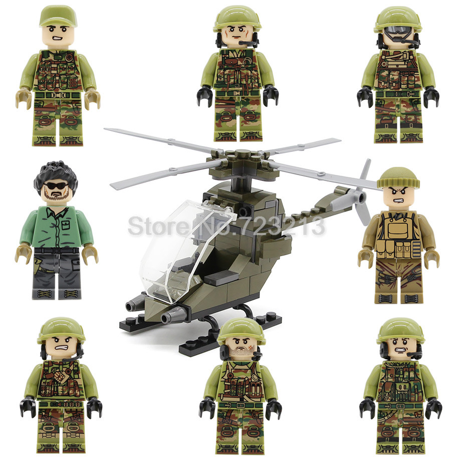 8pcs/lot Military Helicopter Soldier Figure Set weapon SWAT Model Building Blocks kits Educational Toys for Children DLP9061