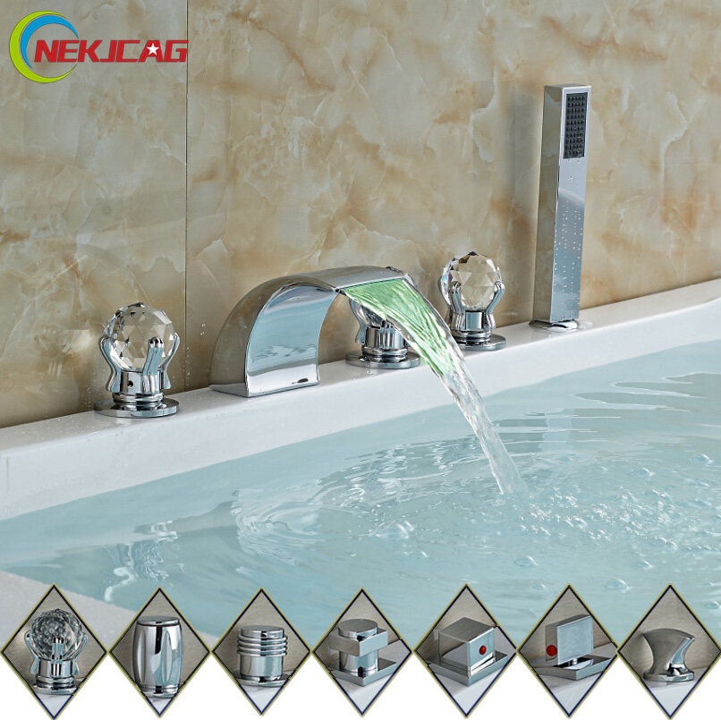 RGB LED Color Changing 3 Handles Waterfall Spout Bathtub Faucet Mixer Taps with Handheld Shower Chrome Finish