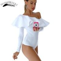 Ruffles Elegant Jumpsuit Rompers For Women White Bodysuit Party Wear Off Shoulder Bodysuit Women Sexy Rompers