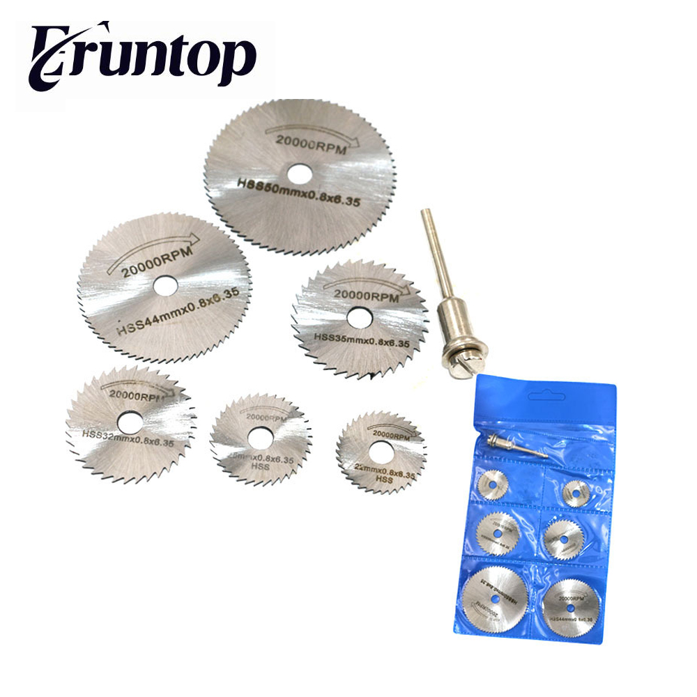 6 Saw Blade +1pc Pole/set Eruntop Hss High-speed-steel Circular Rotary Blade Wheel Discs Mandrel For Metal Dremel Tools Wood Cut