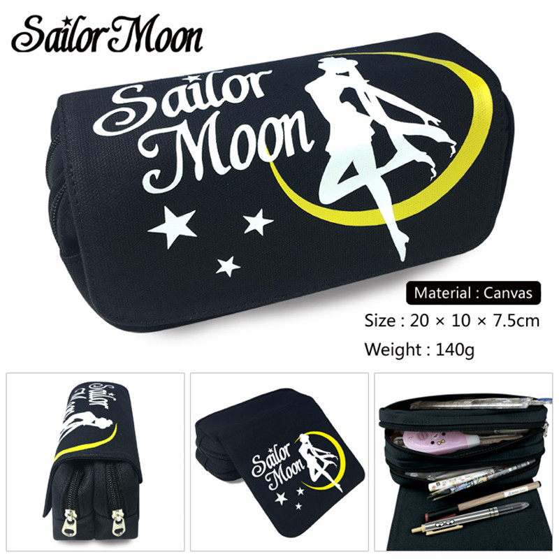Anime Cartoon Sailor Moon Canvas Bags Double Zipper Pencil Bag Pencil Case Gifts For Kids Stationery School Supplies Black 20cm anime sailor moon waterproof laptop backpack double shoulder bag school bag printed with mercury hinorei makoto aino