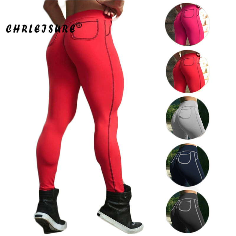 CHRLEISURE Women Sexy   Leggings   Fitness Slim hip leggins Conventional breathable thin absorbent pocket   leggings   women cotton