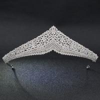 Luxury Classic CZ Cubic Zirconia Wedding Bridal Tiara Crown Diadem Women Hair Jewelry Accessories S17802