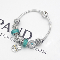 Оптовая продажа DIY ювелирные изделия браслет Зеленый Мурано стеклянное украшение браслет pandent женский браслет жизнь хороший подарок
