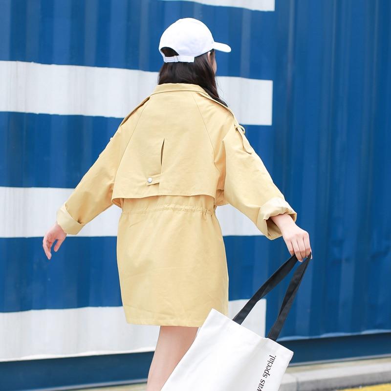 Zipper Hooded Casual Women Thin yellow European Adjustable Trench Hoodie Solid Windbreaker Slim Spring Blue Coat pink Ladies Overcoat 2018 Waist OOHw05rq
