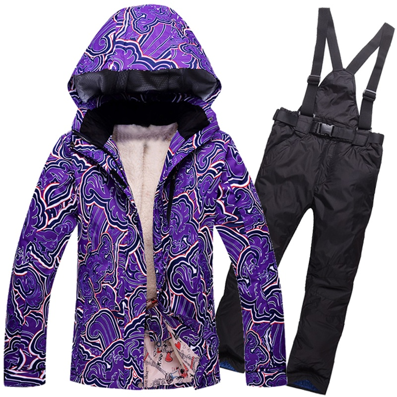 Women's snow suit Thermal Padded Cotton Ski Jackets and Bib Trousers set Winter Skating Hiking Camping Skiing Clothing Windproof 2016 winter boys ski suit set children s snowsuit for baby girl snow overalls ntural fur down jackets trousers clothing sets