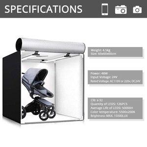 Image 2 - Capsaver M60II 접는 사진 상자 스튜디오 사진 라이트 텐트 60cm Softbox 48W CRI92 라이트 박스 보석 장난감 제품 촬영