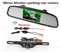 Wireless Reverse Car Rear View Camera 4.3 TFT Rearview Mirror Monitor HD Video Parking 7LED Night Vision CCD Backup Cameras Kit