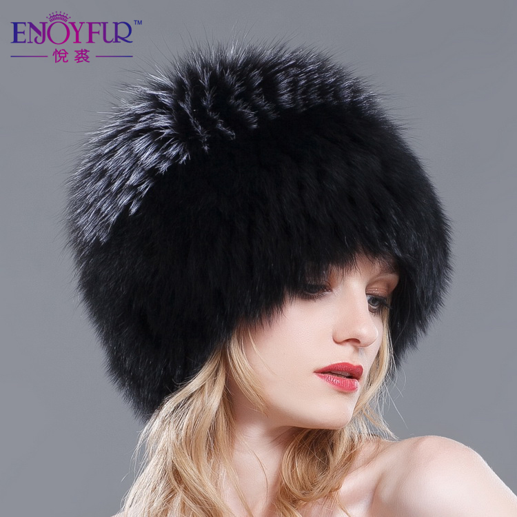 Women winter fur hats genuine fox fur knitted beanies 2018 new hot Russian  style super elastic high quality luxury female caps-in Skullies   Beanies  from ... 3e1e2d31b02