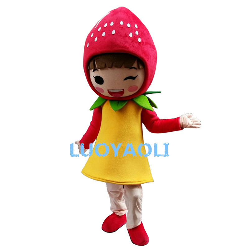 Costume de mascotte de fraise de fruits de haute qualité personnage de dessin animé costumes de mascotte adulte