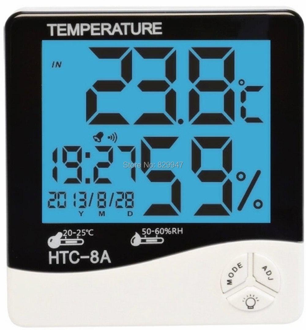 Livraison gratuite lcd nuit intérieure humidité moniteur capteur de température hygromètre thermomètre avec date