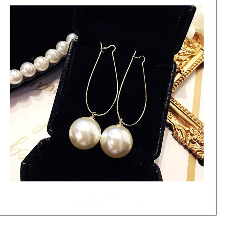 Best Selling Fashion Long Temperament Pearl Earrings Korean Version Of The Simple Wild Female Pendant Earrings Wholesale