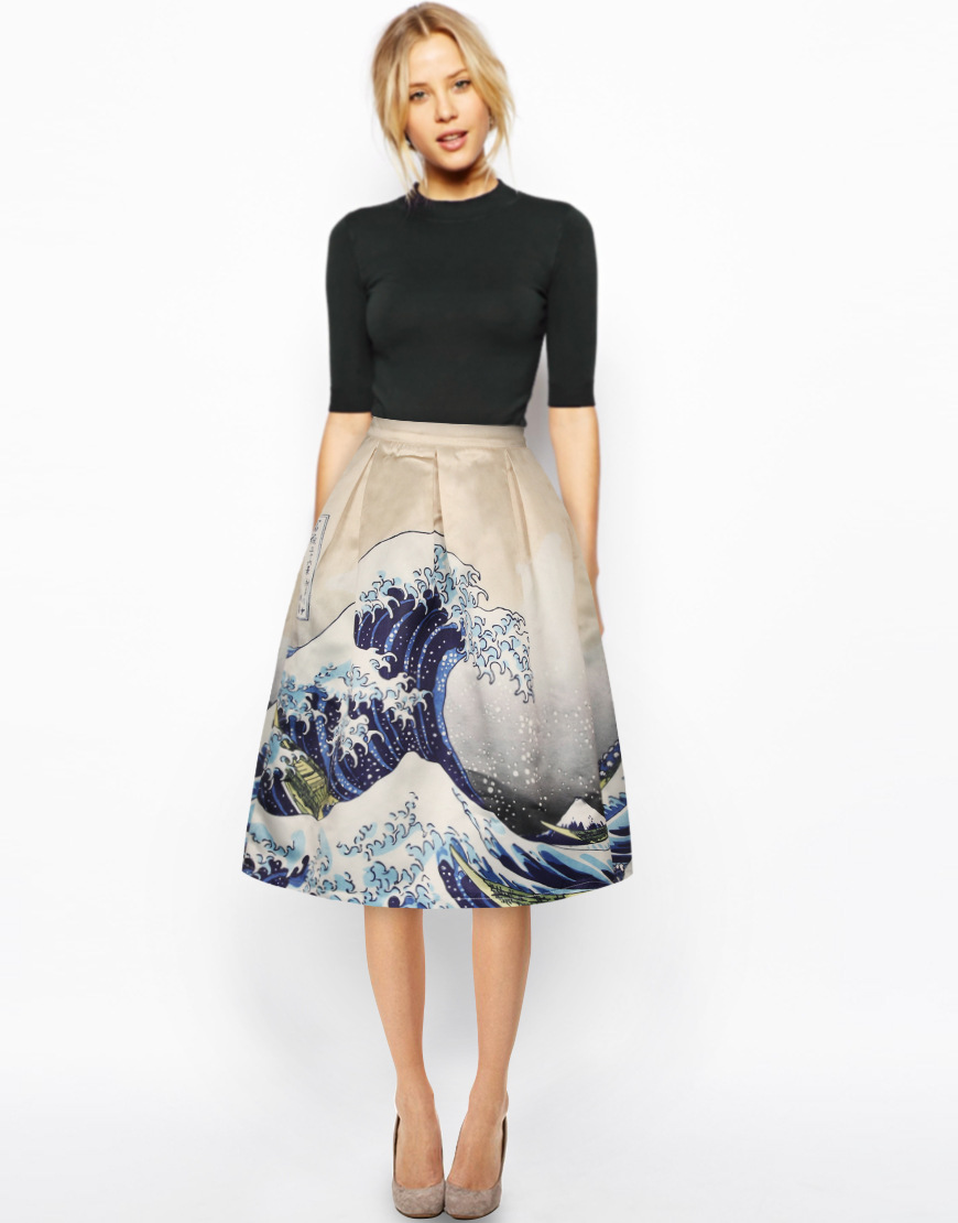 NºVintage mujeres de alta cintura pintura patrón vestido de bola de ...