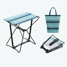 Silla plegable para acampar al aire libre, Mini taburete plegable sencillo, banco para acampar y pescar en tren, silla para playa portátil con 1 para almacenamiento, sin bolsa