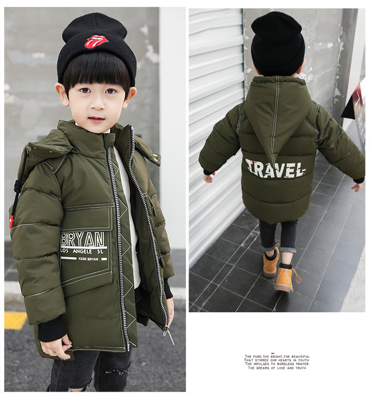 344e5853ebca Boys Cotton Coat 2018 Winter New Male Baby Fashion Witch Hat Cotton ...