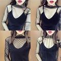 [Soonyour] 2017 primavera nova moda coreana selvagem half-shirt t-shirt das mulheres de gola alta fio perspectiva grade a00301