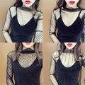 [Soonyour] 2017 primavera nueva moda coreana salvaje de medio cuello alto hilo perspectiva rejilla camisa de la camiseta mujeres a00301