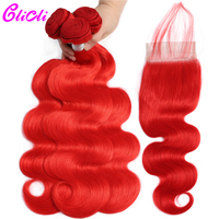 Clicli Body Wave Brazilian Remy Hair 100% Human Hair Red Color Weave Bundles With 4×4 Lace Closure With Baby Hair Free Shipping