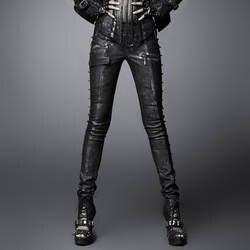 В стиле панк модные рок-н-ролл Для женщин узкие кожаные штаны Готический стимпанк пикантные PU Мотобрюки с Заклёпки