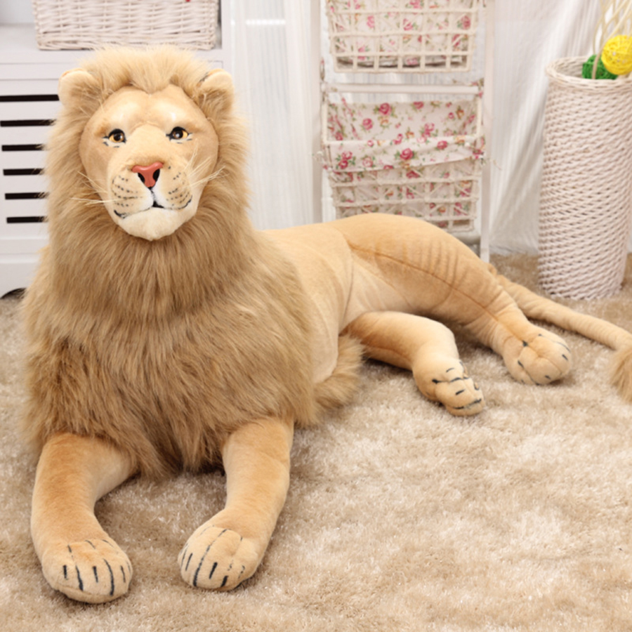 Giant Large Plush Lion Toy Simulation Animals Stuffed Realistic Cartoon Toys Doll For Children Soft Dolls Animal Pillow 50T0345 cute 45cm stuffed soft plush penguin toys stuffed animals doll soft sleep pillow cushion for gift birthady party gift baby toy