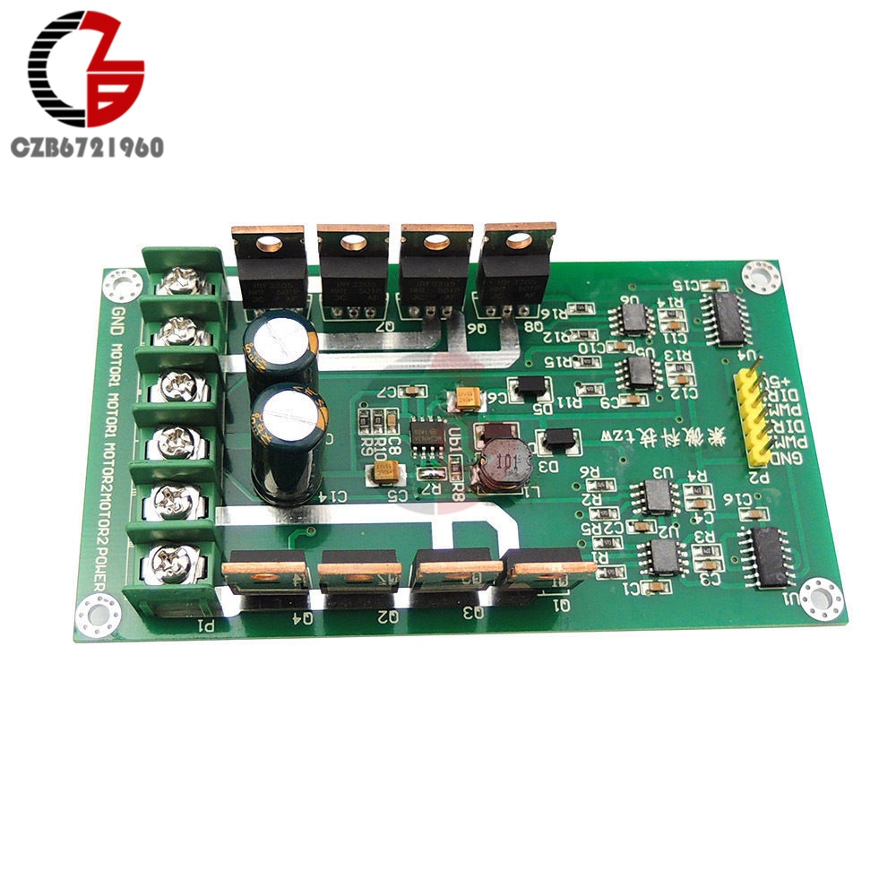 Dual DC Motor Driver Board H-Bridge DC Motor Drive Module MOSFET IRF3205 12V 24V 10A Peak 30A with Brake Function dual motor driver module board h bridge dc mosfet irf3205 3 36v 10a peak30a