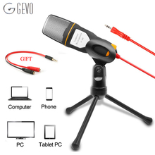 GEVO SF 666 Microphone For Computer Professional Wired Studio With Stand Holder Mic For Phone Pc Laptop Karaoke Recording SF-666 gevo mk f500tl microphone for phone professional 3 5mm wired usb condenser studio microphone for computer karaoke pc mic stand