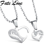 Romantic Charm 316L Stainless Steel Heart Pendant Chain Necklaces Couple Necklaces Gift Jewelry For Lovers Top