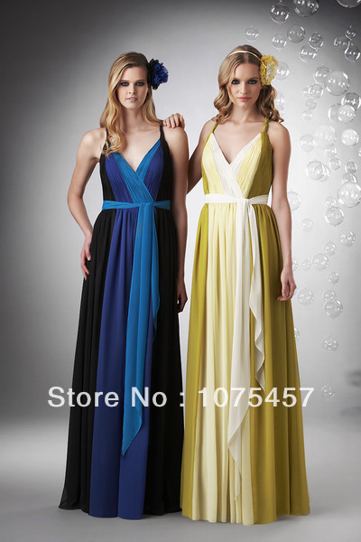 Multi Color Bridesmaid Dress V Neck 2014 New Arrival Chiffon Pleat with Sashes Spaghetti Straps Floor Length Free Shipping JB85