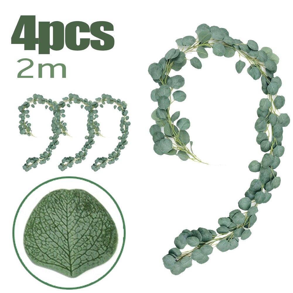 4pcs 2m Fake Green Plant Leaf Decors Artificial Eucalyptus Leaves Vine Rattan Silk Flower Home Wedding Decor