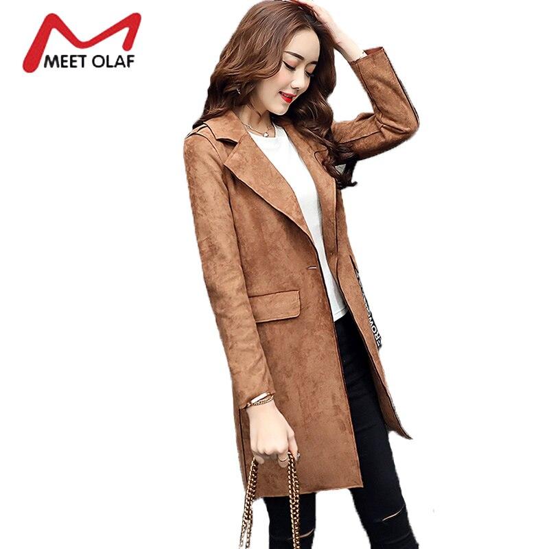 2017 High Quality Women Suede Leather Trench Coat Female Autumn Thin Long Windbreaker Casual casaco Coats feminino abrigos Y1624