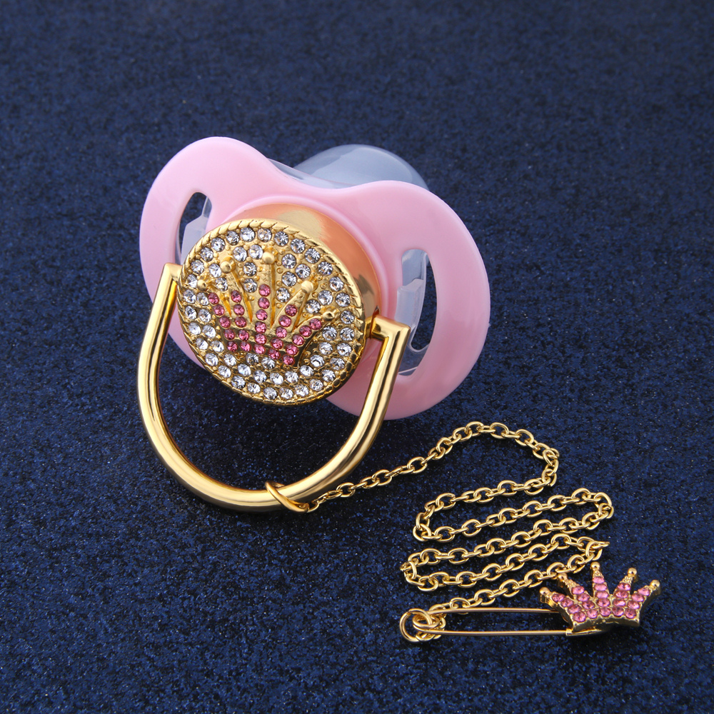 Bling Bling Pink Crown Rhinestone Baby Pacifier And Pacifier Holder Clip Safe Pacifier Dummy Baby Shower Gift